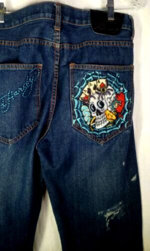 Ed Hardy Men's Distressed Jeans - 34 X 34 - Skull and Aces Embroidered Pockets