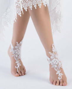 Lace beach wedding foot chain white barefoot sandals anklet wedding image is loading lace beach wedding foot chain white barefoot sandals junglespirit Image collections