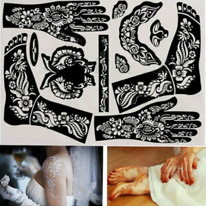 1x India Henna Template Hand Body Art Tattoo Stencils Reusable Temporary Tools Ebay