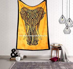 Indian-Elephant-Mandala-Tapestry-Gypsy-Wall-Hanging-Hippie-Bedspread-Ethnic-Boho