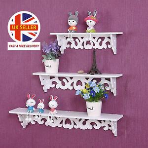 3Pcs-White-Wooden-Wall-Mounted-Shelf-Display-Chic-Filigree-Floating-Storage-Unit