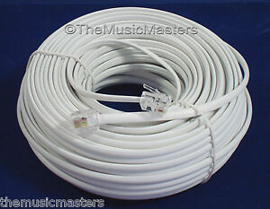 White-100-039-ft-Telephone-Modular-Line-Cord-Phone-Cable-Extension-Wire-RJ11-VWLTW