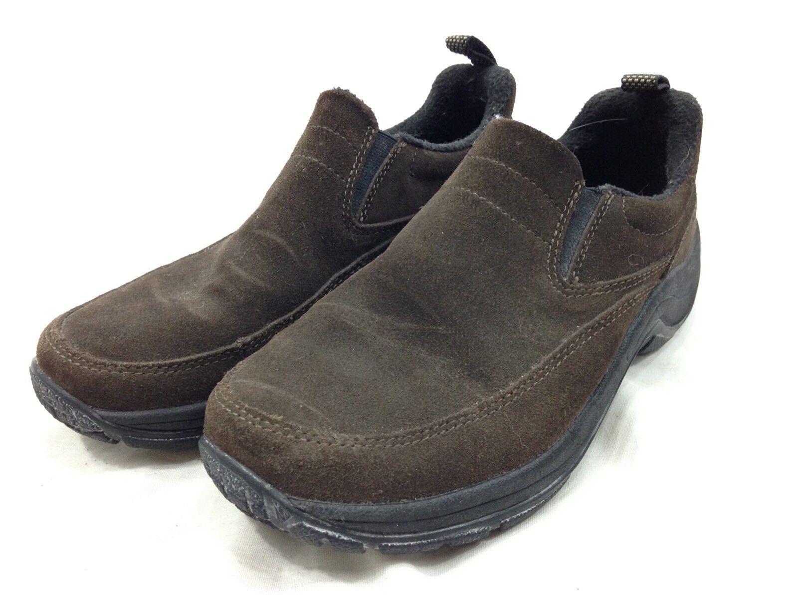 LL Bean shoes Womens 7.5 Brown Suede Moc Mule Slip On Comfort Elastic