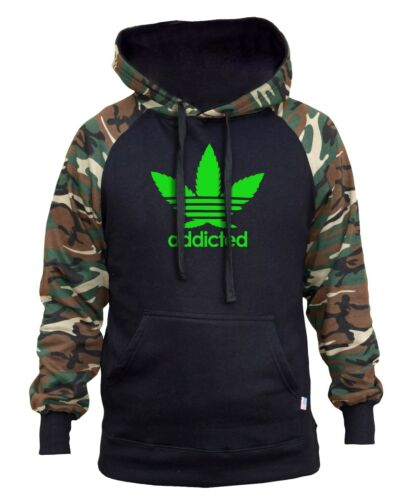Men/'s Addicted Weed Leaf Camo//Black Raglan Hoodie Blunt Kush Marijuana High V355