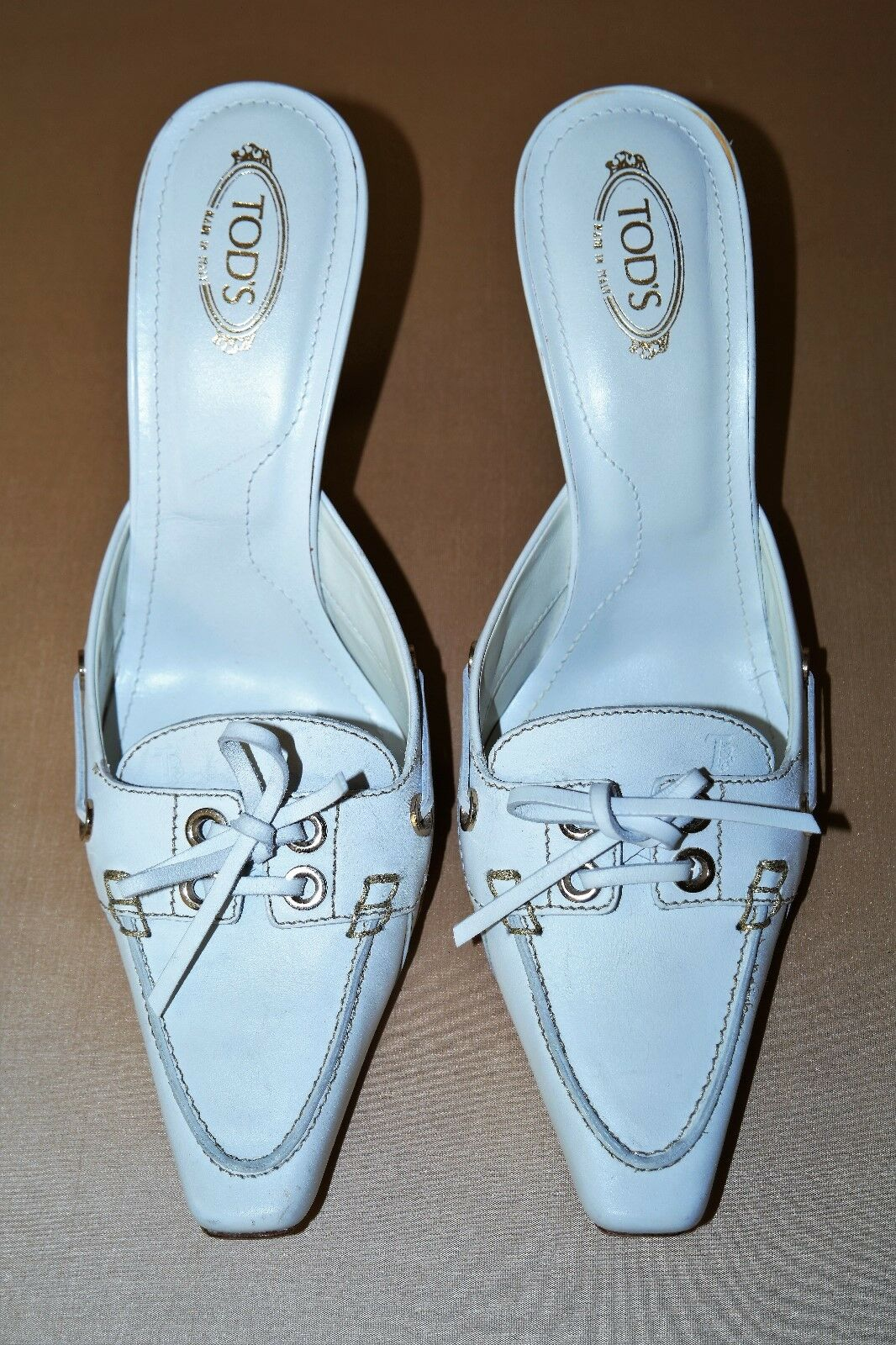 TOD'S MADE IN ITALY MULES WEISS LEATHER+ GOLD DETAIL MULES ITALY SIZE US 9 08fffa
