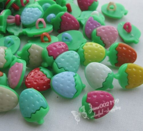 100x Strawberry Plastic Buttons For Kid/'s Sewing Notions Crafts Lots NK054