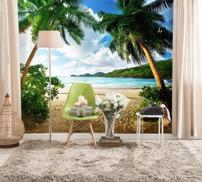 3D Palmen am Strand 4643  Fototapeten Wandbild Fototapete BildTapete Familie DE