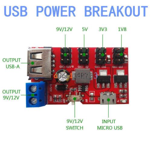 Alimentation USB Breakout DC to DC Power Module Micro USB 5 V à 1.8V//3.3V//5V//9V//12V L40