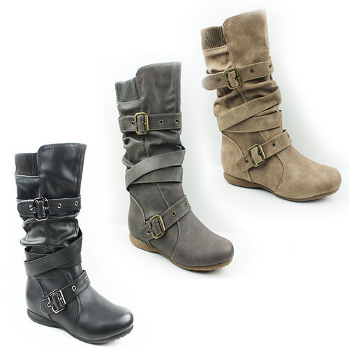 WOMENS CASUAL SLOUCH FASHION FLAT MID CALF BOOTS BOOTIES LADIES SHOES SIZE 3-9