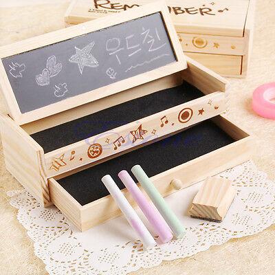 Multifunctional School Pencil Holder Pen Case Vintage Wooden Box Stationery Case