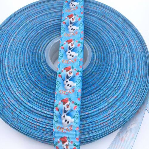 "Christmas Frozen Anna Elsa Olaf 1/"" 25mm Grosgrain Ribbon"
