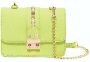 BCBG Paris Apple Green Studded Caviar Crossbody Bag with Chain Strap