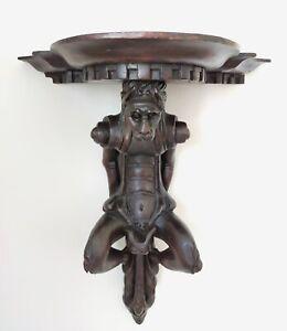Console d'applique Chimère en bois sculpté 42x35 cm