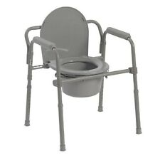 Bedside Commode Adult Potty Chair Toilet Bucket Folding Bariatric Handicap Seat