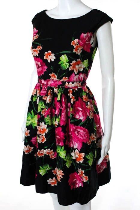 Eliza J Multi-color Floral Print Ruched Belted A-Line Sundress Size 4 2344