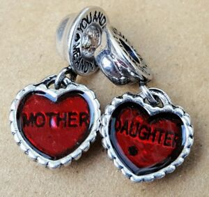 Mother-Daughter-Red-Hearts-Set-European-Beads-Jewelry-Dangle-Charms-GIFT-for-MOM