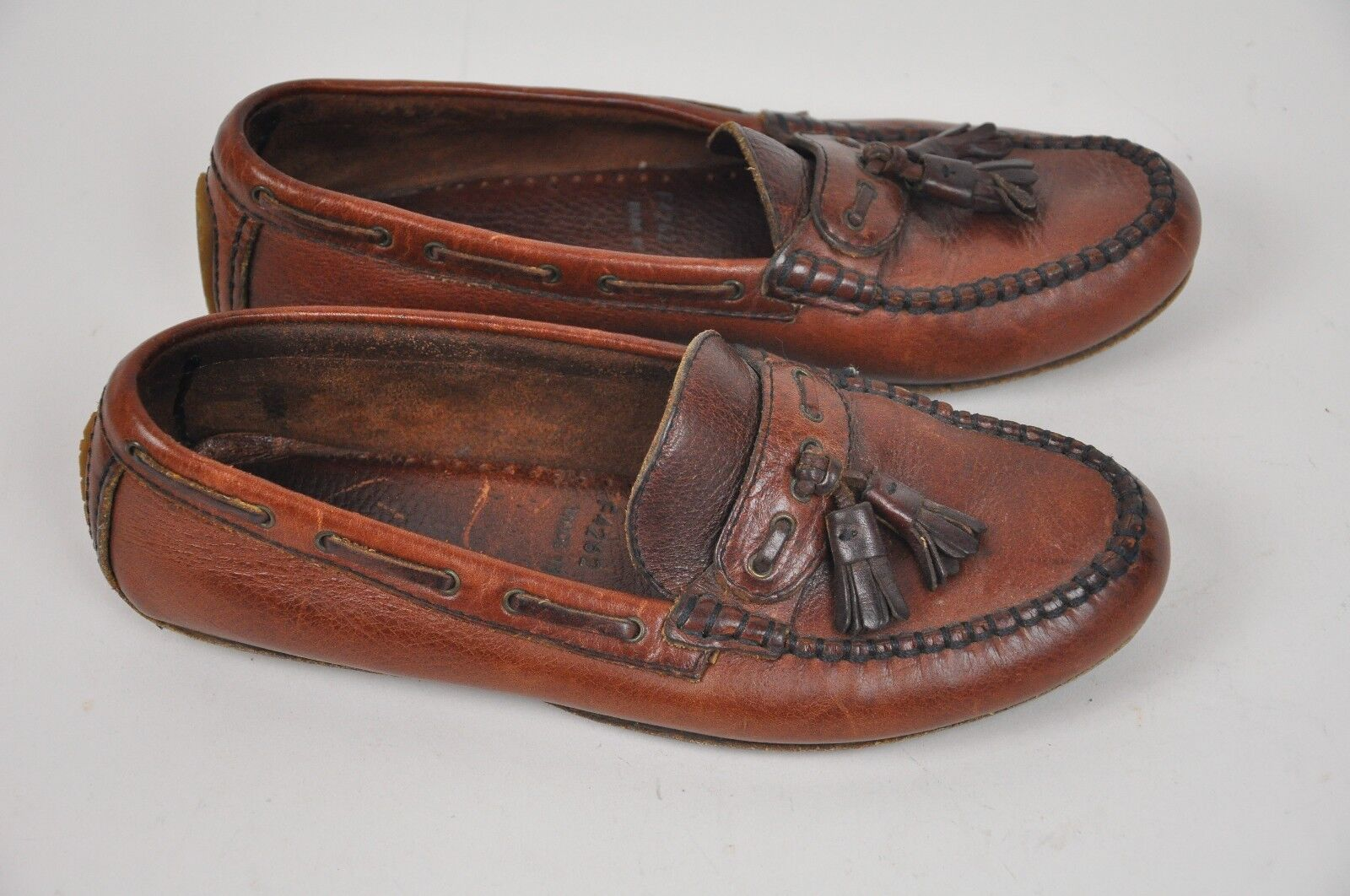 Women's COLE HAAN Country Brown LEATHER Loafers TASSELS 7.5 M F4262 BRAZIL shoes