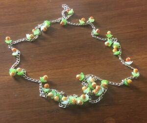 Vintage-Retro-Kitsch-Plastic-Peaches-amp-Green-Leaflets-Silver-Tone-Necklace-51