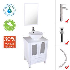 24 Inch Bathroom Cabinet White Vessel Sink Modern Vanity W Faucet