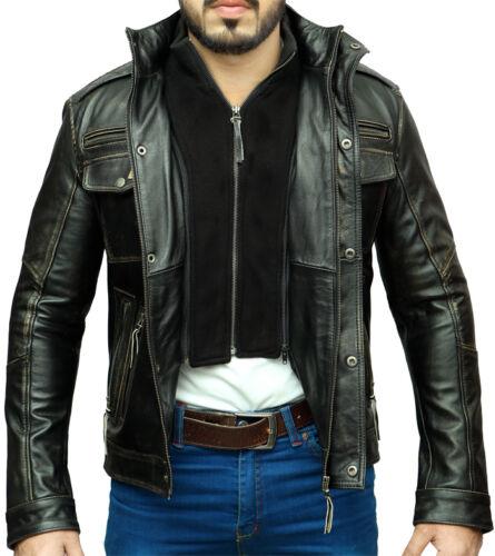 Mens Vintage Biker Style Motorcycle Racer Distressed Leather Jacket