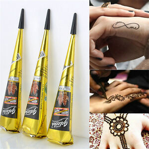 1pcs Body Art Paint Temporary Tattoo Kit Natural Herbal Henna Cones Mehandi WQZY