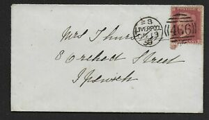 Small-1858-Envelope-Liverpool-To-Ipswich-With-1d-039-Stars-039-SG40-Ref-09102