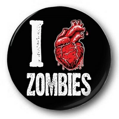 """I Love / Heart Zombies 25mm 1"""" Button Badge - Funny Humour Novelty"""