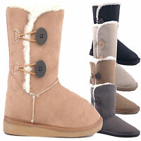 Womens Boots Girls Faux Suede Shoes Ladies Fur Lined Winter Snow Ankle Boots