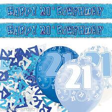 Blue Silver Glitz 21st Birthday Banner Party Decoration Pack Kit Set