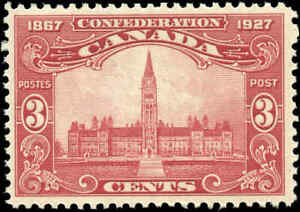 1927-Mint-H-Canada-F-Scott-143-3c-Confederation-Anniversary-Issue-Stamp