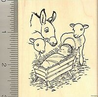 Christmas Nativity Rubber Stamp J8716 Wood Mounted