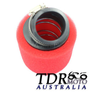 RED-45mm-Bent-Angled-Foam-Air-Filter-Pod-150cc-PIT-Quad-Dirt-Bike-ATV-Buggy