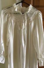 Ilise Stevens Ivory Pearl Silky Liquid Satin Long Nightgown Sissy Granny L