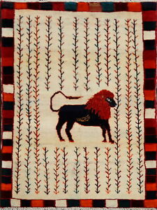 Tribal-Ivory-Animal-Pictorial-Gabbeh-Area-Rug-Hand-Knotted-Oriental-Carpet-3-039-x4-039