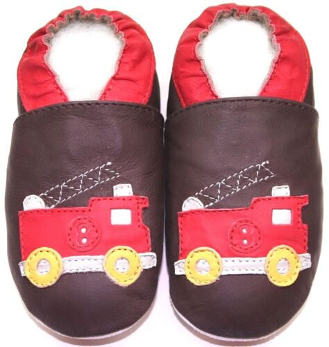 soft sole leather baby boy first walking shoes fire truck brown 12-18 m