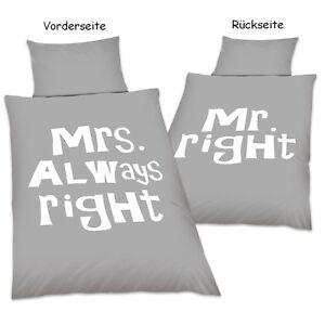 Wende Bettwäsche 20124 Mrs Always Right Oder Mr Right Mikrofaser