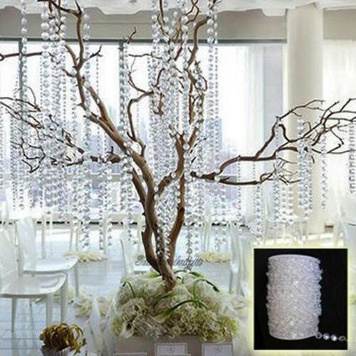 33 FT Garland Diamond Acrylic Crystal Bead Curtain Wedding DIY Party Decoration