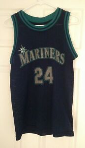 on sale 36e50 5e250 Details about Seattle Mariners Ken Griffey Jr #24 Dark Blue Sleeveless  Jersey Jerico Athletic