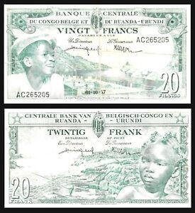 BELGIAN-CONGO-CONGE-BELGE-1957-20-Francs-P-31a-RUANDA-URUNDI
