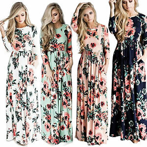 3330821e38 Womens Floral Long Maxi Dress Long Sleeve Cocktail Party Tunic Beach ...