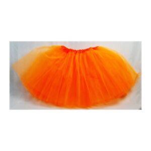Calidad-Mujer-Nina-Falda-Tutu-elegante-falda-disfraz-fiesta-3-capas-naranja