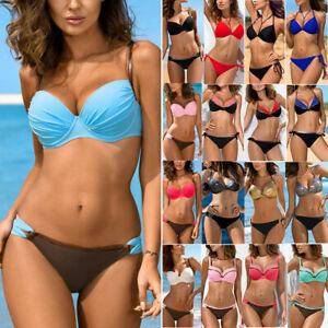 Womens-Padded-Push-up-Bra-Bikini-Sexy-Swimsuit-Bathing-Swimwear-Beachwear-CA