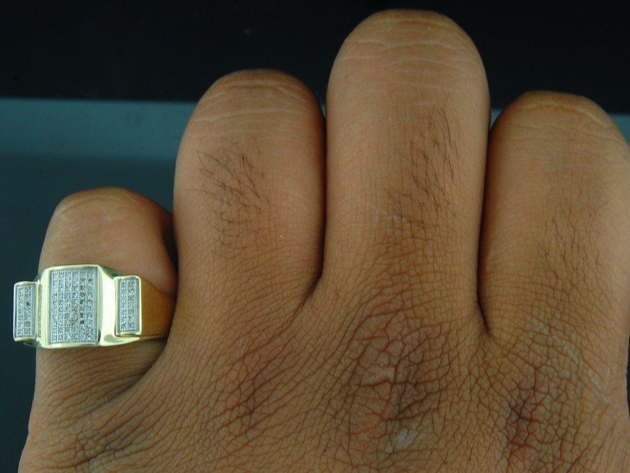 Da Uomo 10k 10k 10k oro Giallo Anello da Mignolo con Diamante 1 3 Ct. Design a6d769