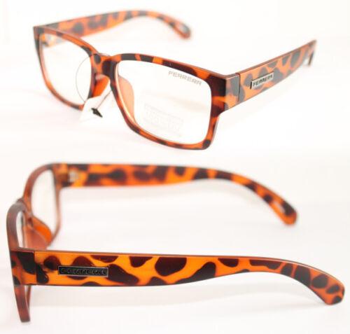 Nerd Brille Designer Style NEU Ferrera Klarglas Mode Fashion leopard matt 783