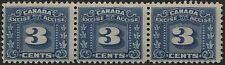 Canada VanDam # FX64 3c blue 3 leaf Excise Tax Revenue MNH strip 3 (1934)
