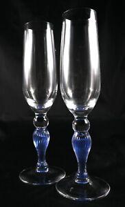 Pair-Rare-Stunning-Vintage-Kosta-Boda-Swedish-Crystal-Champagne-Flutes-Glasses