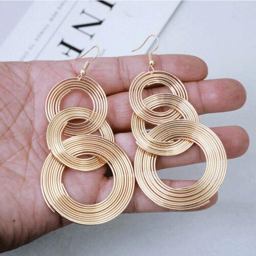 Fashion Jewelry Women Multilayer Circle Hook Gold Silver Hoop Dangle Earrings