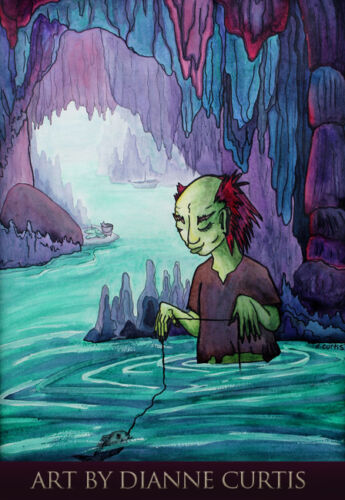 Cave Fishing ACEO Colorful Surrealism Art Print from original watercolor dcurtis