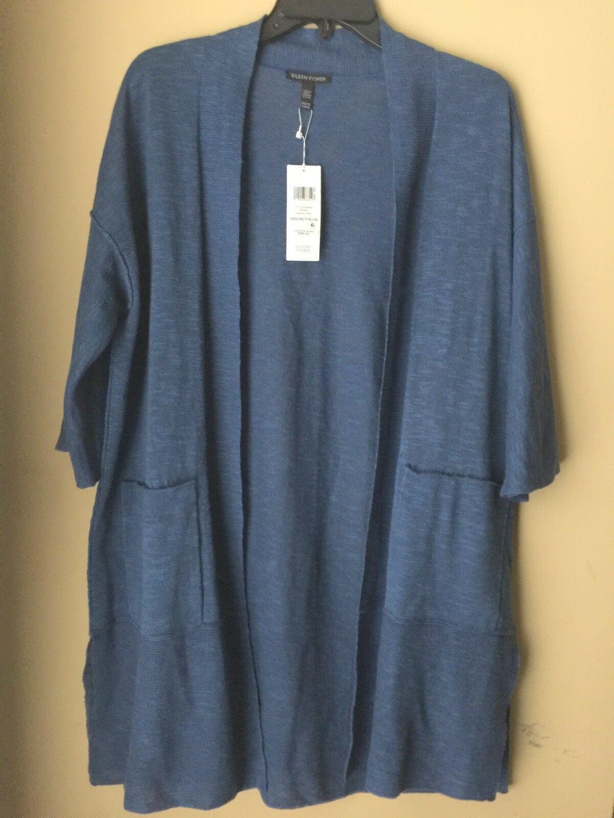 Eileen Fisher Denim Linen Cotton Slub Lightweight Kimono Cardigan XXS XS, S M