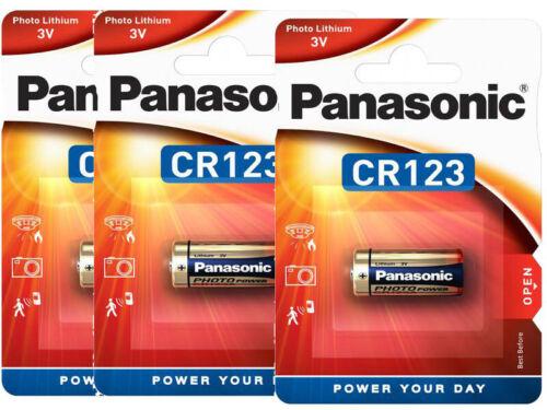 3 x Panasonic CR123 CR17345 CR123A Lithium Photo Batterie 3V im Blister